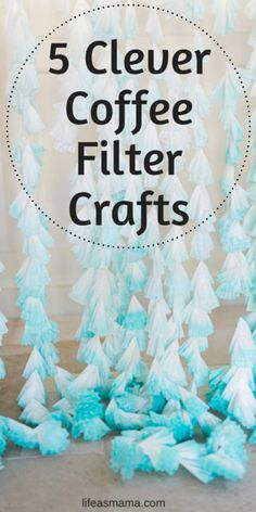 5 Clever Coffee Filter Crafts You'll never believe these gorgeous crafts are made with coffee filters! They are beautiful and simple, and oh so inexpensive. Coffee Filter Wreath, Coffee Filter Crafts, Coffee Filter Flowers, Coffee Filter Art, Mason Jar Crafts, Mason Jar Diy, Easy Crafts, Crafts For Kids, Craft Projects