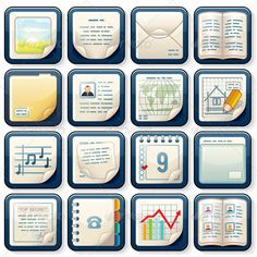 Document Icons Vector  #GraphicRiver         Icons with Paper Documents. Vector Business Design.   - vector illustration, only simply linear and radial gradients used   - no blends, gradient mesh used   - vector available CMYK colors for print   - pack include version AI, CDR, EPS, JPG   Keywords: buttons, card, business, top, secret, confidential, icon, abstract, template, contract, organizer, graphic, picture, painting, beauty, creative, idea, curl, notebook, table, man, classic…