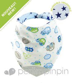 foulard bavoir pour bébé, perlimpinpin, automobiles / étoiles bleus, bavoir réversible