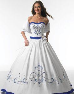 white and royal blue wedding dresses Blue Wedding Gowns, White Wedding Dresses, Bridal Gowns, Bridesmaid Dresses, Prom Dresses, Blue Weddings, Dresses 2014, White Gowns, Dress Wedding