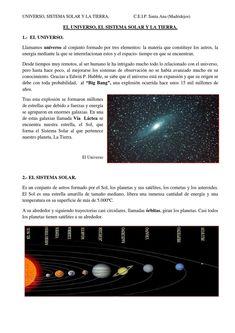 el universo el sistema solar y la tierra