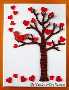 Crochet, Wall Art, Valentine's Day Tree, hearts, bird, home decor$