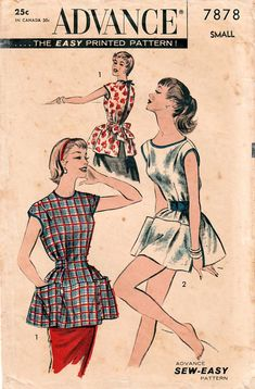 1950s Advance 7878 Vintage Sewing Pattern Misses Full Apron