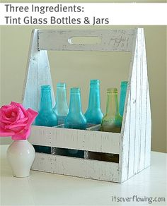 How to Tint Bottles and Jars with Mod Podge, Water, and Food Coloring!