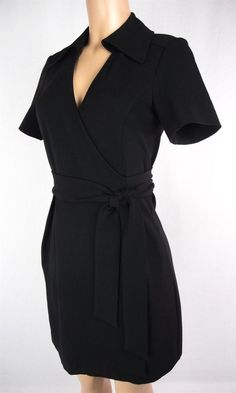 Diane Von Furstenberg Wrap Dress Size M Black Short Sleeve Collared V Neck DVF #DVF #WrapDress #Casual