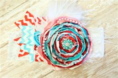 aqua teal red and pink vintage handmade flower by JElisynBoutique, $25.00