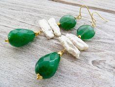 Green jade earrings, white biwa pearl earrings, stone earrings, statement earrings, dangle earrings, summer jewelry, contemporary jewelry