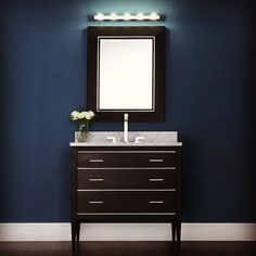 Modern Mainline: beautiful black finish, all birch hardwood, Carrera white marble top, with matching mirror. Bathroom Vanity Cabinets, Bathroom Vanities, Bathroom Furniture, Contemporary Bathrooms, Modern Bathroom, Marble Top, White Marble, Online Furniture, Carrera