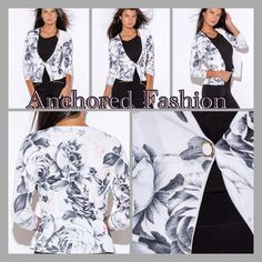 Floral Blazer Juniors size Floral Blazer. 95% Polyester,m5% Spandex. Beautiful, black, pink and grey floral print. Fitted, collarless. MADE IN THE USA Jackets & Coats Blazers
