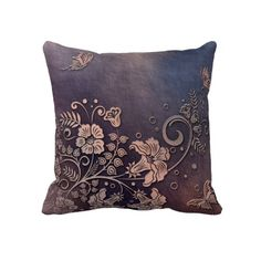 KRW Distressed Floral Butterfly Decor Pillow