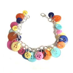 Summer Jewelry Bracelet Charm Colorful Buttons by LovesParisStudio, $30.00