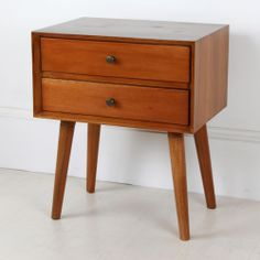 Wooden Two Drawer Bedside Table