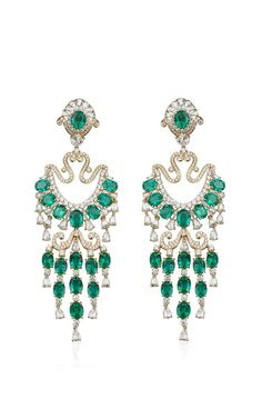 Farah Khan Zambian Emerald Chandelier Earrings by Farah Khan Fine Jewelry for Preorder on Moda Operandi