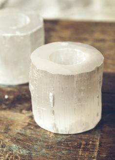 Selenite Candle Holders by SoulMakes