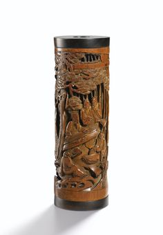 A CARVED BAMBOO 'SEVEN SAGES OF THE BAMBOO GROVE' INCENSE HOLDER<br>QING DYNASTY, 18TH / 19TH CENTURY | Lot | Sotheby's