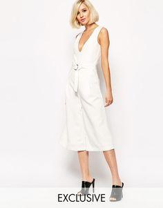 Lavish Alice Plunge Neck High Waist Culotte Jumpsuit with Belt UK 8 -EU 36 -US 4