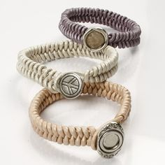 12930 Braided Leather Bracelets with a Link Button Fastener - DIY Tutorial