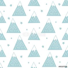 Wektor: Seamless pattern with geometric snowy mountains and stars. Simple nature illustration. Cute mountains background.
