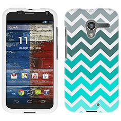 Moto X Chevron Grey Green Turquoise Firm Case