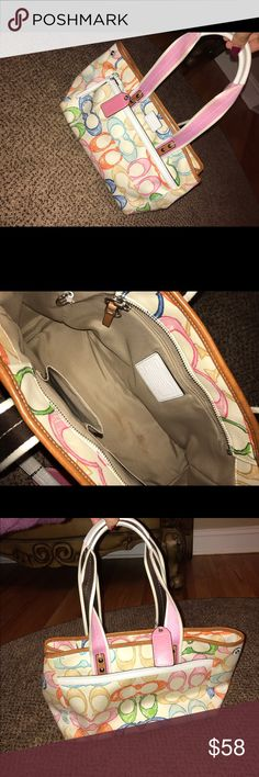 Coach Scribble Tote Authentic coach tote! Makeup stain on the inside and a little mark on bag but hardly noticeable in person. Fun multicoloured bag :) Willing to talk about price Coach Bags Totes