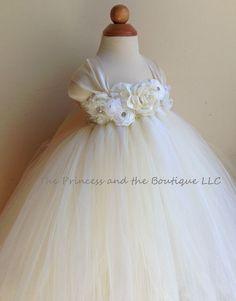 Flower girl dress, ivory and white tutu dress, baby tutu dress, toddler tutu dress, newborn-24m,3t,4t,5t, birthday,wedding on Etsy, $90.00