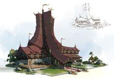 Fantasy architecture, lok du on ArtStation at… Fantasy City, Fantasy House, Fantasy Places, Fantasy World, Landscape Concept, Fantasy Landscape, Roman Fantasy, Fantasy Concept Art, Building Art