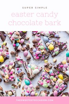 Snag this fun seasonal recipe for Easter candy chocolate bark plus see variations for Halloween, St. Chocolate Morsels, Chocolate Bark, Easter Chocolate, Christmas Chocolate, Easy Easter Desserts, Easter Snacks, Easter Candy, Easter Eggs, Types Of Chocolate
