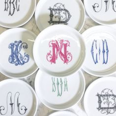 Sasha Nicholas monogram monogrammed dishes dinnerware wedding registry gift plates custom crest tableware tabletop place settings
