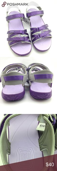 """Teva purple metallic strip sandals These are a Junior 7, which fits me perfectly! and I wear a Women's 9! ...now I guess I know I wear a 7J ! 🤣 Three adjustable straps, ( which is perfect for my narrow feet! ) ShocPad in heel.  My KEEN women's size 9 sandal: 10 1/4"""" long, widest part of forefoot is 4"""", widest part of heel is 3"""" Teva: 10 1/4"""" long, 3 1/2"""" at forefoot 2 3/4"""" at heel Teva Shoes Sandals"""