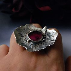 Ring | 6 Shadows Designs. Garden Sanctury'. Oxidized sterling silver with tourmaline.