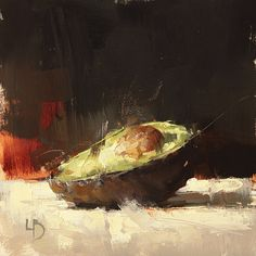 8 x 8″, Avocado Study, Oil on board.