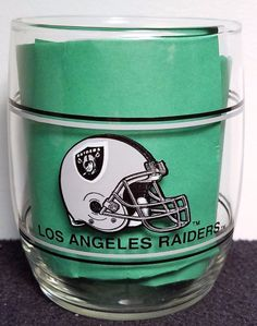"""L.A. Raiders - Vintage 1989 - NFL Double Band Roly Poly 3.5"""" Mobil Oil Glass"""