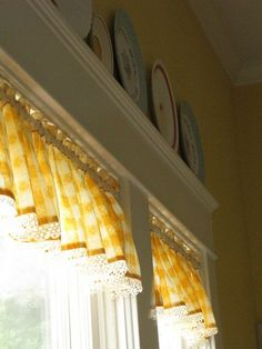 Plates above the window and the sweet yellow checked valance (from Dear Daisy Cottage) Modern Kitchen Renovation, French Country Kitchens, French Kitchen, White Kitchens, Yellow Cottage, Rose Cottage, Sunflower Kitchen, Yellow Houses, Mellow Yellow