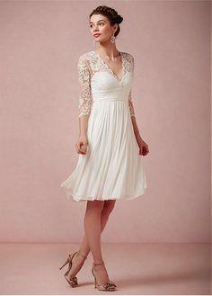 Buy discount Amazing Tulle & Chiffon & Stretch Charmeuse Satin A-line V-neck Empire Waist Short Wedding Dress at Dressilyme.com