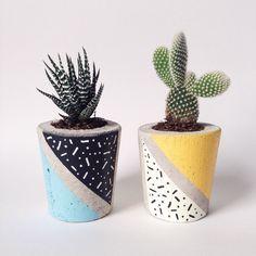 Concrete Planter, cactus/ succulent plant pot, handmade, hand painted modern Memphis pattern. Limited edition collaboration. by SHOWYOURBONESshop on Etsy https://www.etsy.com/listing/463494292/concrete-planter-cactus-succulent-plant