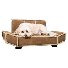 Lounge-style pet bed with shearling trim.   Product: Pet bedConstruction Material: Wood, foam and fabric...