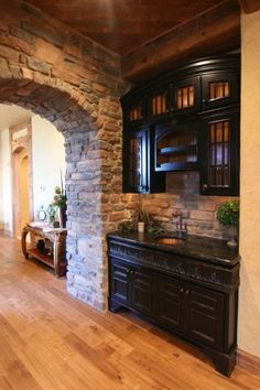 rock wall would perfectly match the fireplace