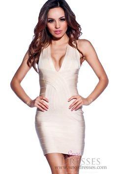 c99d83d0ac Sexy Beige V-Neck Bandage Dress