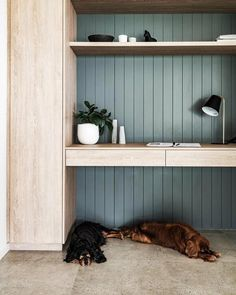 office furniture The floor of the home office is a cool place for the cavalier King Charles spaniels Lolly and Eddie to relax Office Nook, Home Office Space, Study Office, Office Storage, Home Office Design, Home Office Furniture, Home Office Decor, Home Interior Design, House Design