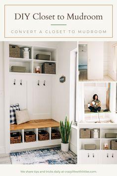 Small Coat Closet, Closet Built Ins, Converted Closet, Small Mudroom Ideas, Living Tv, Entry Closet, Mudroom Laundry Room, Build A Closet, Closet Designs