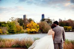 I love the mood of this photo. lincoln park wedding portraits by cafe brauer