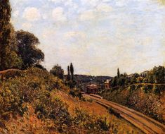 The Station at Sevres, 1879 by Alfred Sisley. Impressionism. landscape. Private Collection