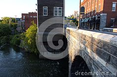 Photo about This is main street in Middlebury Vermont where the Otter Creek flows below main street under a historic and beautiful stone arched bridge. Image of beautiful, vermont, town - 74212204 Middlebury Vermont, Otter Creek, Arch Bridge, Main Street, Maine, Flow, Stock Photos, Architecture, Beautiful