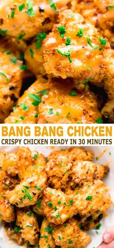 Bang Bang Chicken Recipe in Air Fryer - incredibly crispy air fried chicken nuggets. They taste AMAZING! Crispy, juicy and delicious, made in just 30 minutes. with chicken nuggets Bang Bang Chicken Bang Bang Chicken, Fried Chicken Nuggets, Fried Chicken Recipes, Healthy Fried Chicken, Chicken Nugget Recipes, Chicken Recipes On Stove, Amazing Chicken Recipes, Air Fryer Chicken Recipes, Chicken