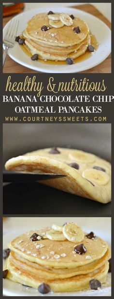 Healthy, Nutritious and Delicious Banana Chocolate Chip Oatmeal Pancakes. A quick and easy breakfast recipe for your family.