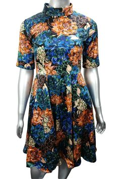 Blue and orange floral roll neck work midi dress Midi Dress Work, Frill Dress, Dresses For Work, Pretty Clothes, Pretty Outfits, Autumn Outfits, Summer Outfits, Casual Clothes, Casual Outfits