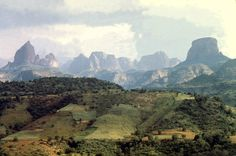 The Simien Mountains lie in northern Ethiopia, north east of Gondar. They are a World Heritage Site and include the Semien Mountains National Park. The mountains consist of plateau separated by valleys and rising to pinnacles. The tallest peak is Ras Dashen (4,550 m)