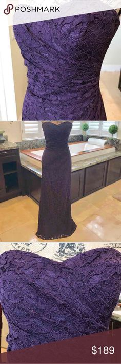 Gorgeous Plum All Over Lace Gown Beautiful all over lace gown for prom, formal, homecoming or a wedding. Per previous owner only worn once, only wear on bottom where touches floor. Retail $189, open to reasonable offers. David's Bridal Dresses