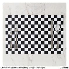 Checkered Black and White Paper Placemat
