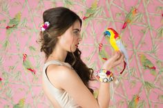 Embellished with motley flowers, comb Ss16, Portrait, Tropical, Lily, Flowers, Collection, Style, Men Portrait, Portrait Illustration